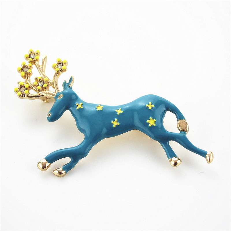 Free Shipping Fashion Ladies Accessories New Animal Brooches Boys Girls Holiday Gifts Blue Deer Enamel Badge