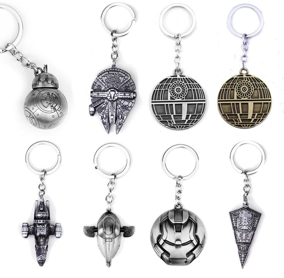 Star Wars Spaceship Keychains Toys Model Keychain Death Star BB8 Slave 1 Collectables Metal Keychains Keyring