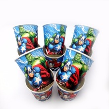 10pcs/lot The Avengers Party Supplies Paper Cup Cartoon Birthday Decoration Baby Shower Theme Favors For Kids Girls Boys