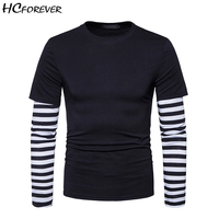 T Shirt Men Camisetas Hombre Tops Casual Long Sleeve Off White Hip Hop Streetwear Striped Black Grey Pink Mens Clothes Fashion