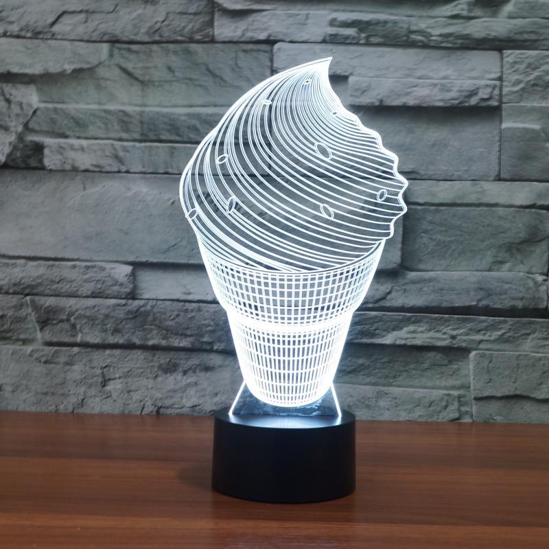 3D belle glace nuit lumière 7 LED qui change de couleur Table bureau lampe acrylique plat ABS Base USB chargeur décoration de la maison