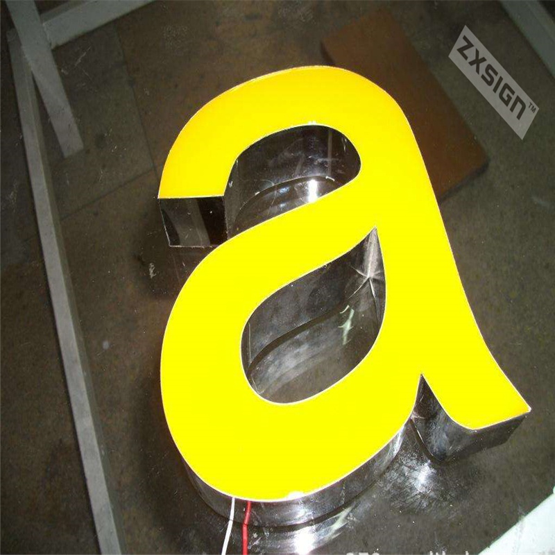 Factoy Outlet Outdoor Brightest Resin Led Letter Sign Stainless Steel Side & Back Shop Sign, Company Logo