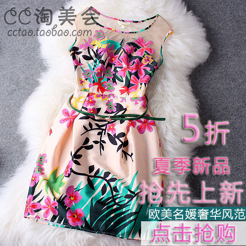 Organza patchwork skirt basic o-neck slim silk princess dress fashion print one-piece dress female