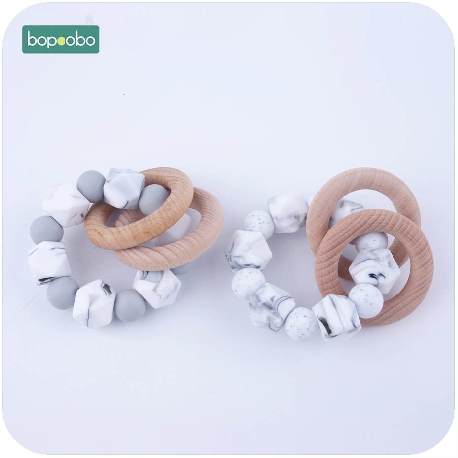 Bopoobo 1PC Silicone Beads With Wooden Ring Rattle DIY Crafts Food Grade Teether Baby Nursing Accessories Classic Sensory Toy
