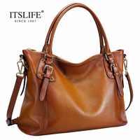 The new Europe style women's big retro bag lady fashion genuine leather handbag Shoulder Messenger Bag lady bayan canta