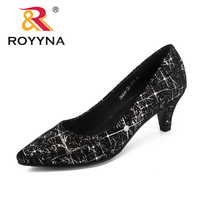 ROYYNA New Arrival Classics Style Women Pumps Pointed Toe Women Dress Shoes  Thin Heels Lady Wedding Shoes Light Free Shipping 9640a1de9547
