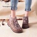 2016 Handmade Botas Para As Mulheres de Veludo Quente Genuínos Ankle Boots de Couro Sapatos Mãe Das Mulheres Do Vintage Sapatos Estilo Folk Retro Martin Botas