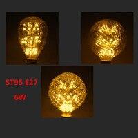 Retro Stil E27 6 Watt Glühbirne G95 Warnen Weiß 220 V Ananas förmigen Starry Edison Led-lampe startseite Indoor Bar Dekoration