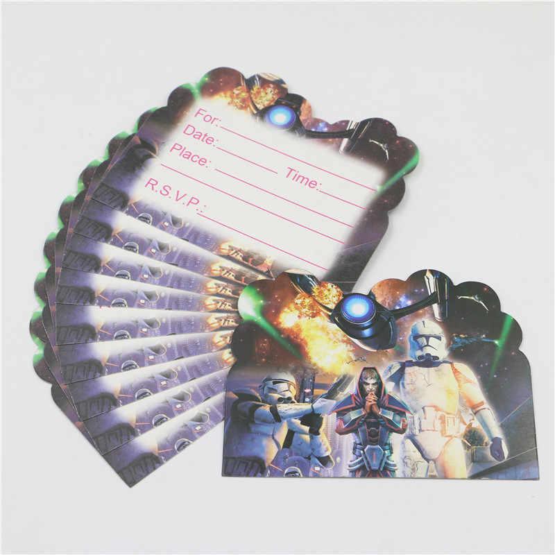 Star Wars Kid Boy Baby Happy 1st Birthday Party Theme Black Invitation Cards Decoration Supplies