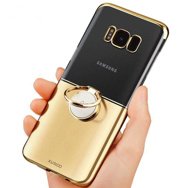 Per Samsung Galaxy S8 Caso di Lusso Titolare Anello Magico Trasparente Cassa Del Telefono dura del PC Per Smsung Galaxy S8 più Protettiva Funda