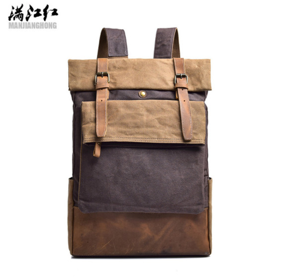 man canvas with crazy horse leather Backpacks men's shoulder school laptop bag men Vintage Patchwork backpack male travel bags 13 3 inch core i7 5th generation cpu backlit laptop computer with 8g ram 256g ssd webcam wifi bluetooth windows 10