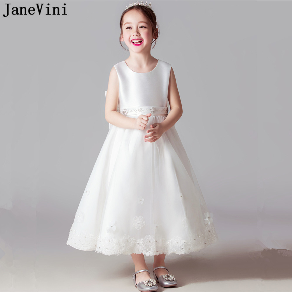 JaneVini Ivory Tulle   Flower     Girls     Dresses   for Wedding A Line Appliques Beads Bow   Girl   Party Communion   Dress   Robe Ceremonie Fille