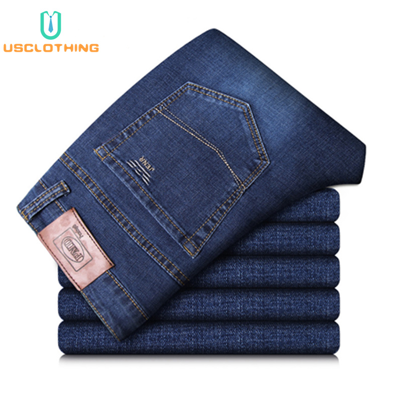 New   Jeans   Men Classic Business   Jeans   Fashion Casual Primary Color Slim Fit Straight Male Trousers Denim Pants Brand Clothes CX45