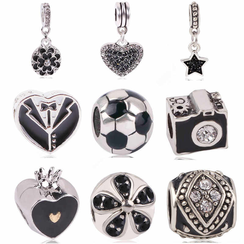 Ranqin 2018New Original Fashion European Charm Black Football Camera Dress Series Fit Pandora Charms Bracelets DIY Women Jewerly