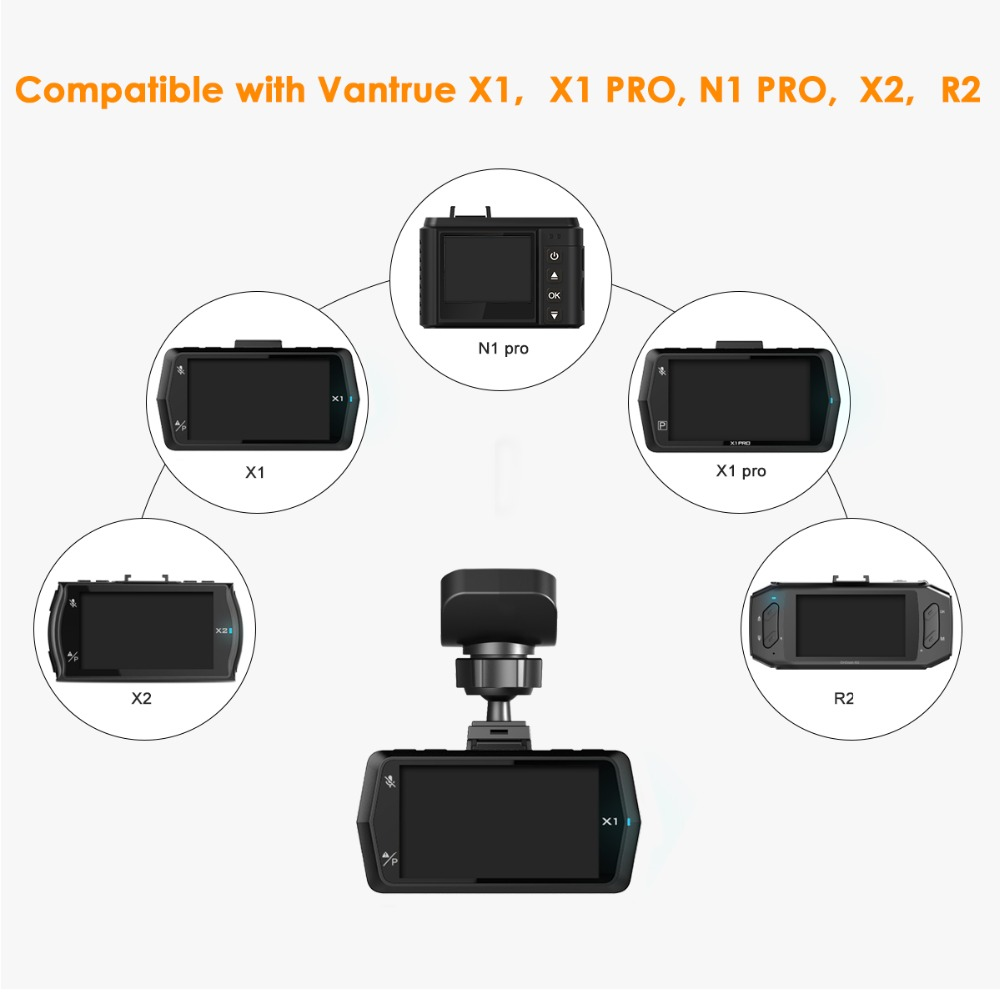 X1 Pro X1 X4 X2 Vantrue N1 Pro R2 Dash Cam Mini USB Port Adhesive Dash Cam Windshield Mount with GPS Receiver Module for Windows and Mac