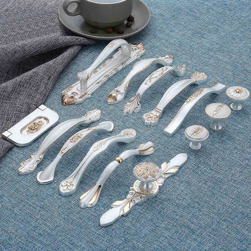 European Furniture Cabinet Door Handle and Knobs White Silver Simple Handles Drawer Puller Wardrobe Cabinet pull