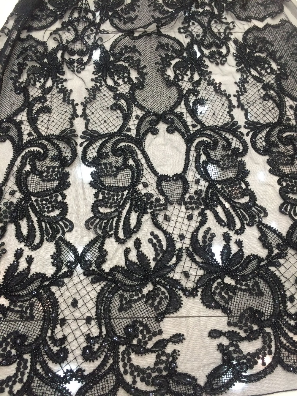 african Lace Fabric With beads Z-han11925 Top Quality Embroidered Tulle Lace African French Net Lace Fabric 5 Yards