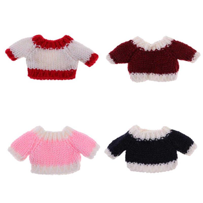 Novo 1 pçs 1/12 casa de bonecas em miniatura acessórios novas roupas camisola para blythe boneca de malha topos tecidos