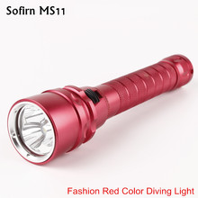 Sofirn Red MS11 Cree XML2 фонарик для дайвинга с аквалангом 18650 мощный погружной светильник светодиодный фонарь светильник поиск Подводный фонарь