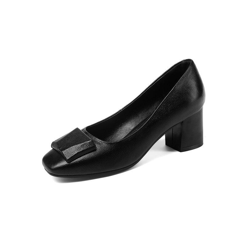 ZVQ รองเท้าผู้หญิงรองเท้าใหม่แฟชั่นของแท้หนังส้นตื้น slip on square toe breathable สบายด้านนอกปั๊ม-ใน รองเท้าส้นสูงสตรี จาก รองเท้า บน   2