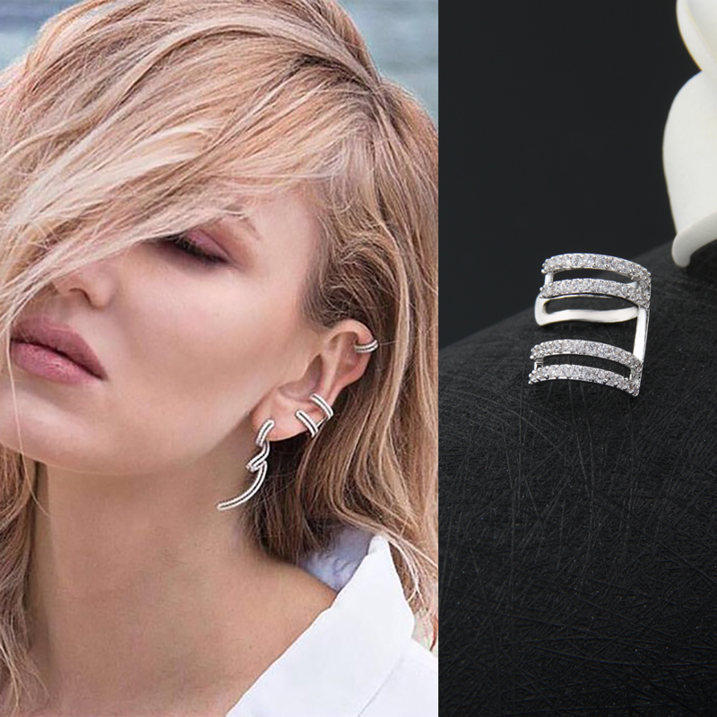 Fashion Zirconia Crystal Clip Earrings Popular Cuff Earrings Girl Party Gift Earings Fashion Jewelry Pendientes Mujer Moda AE231