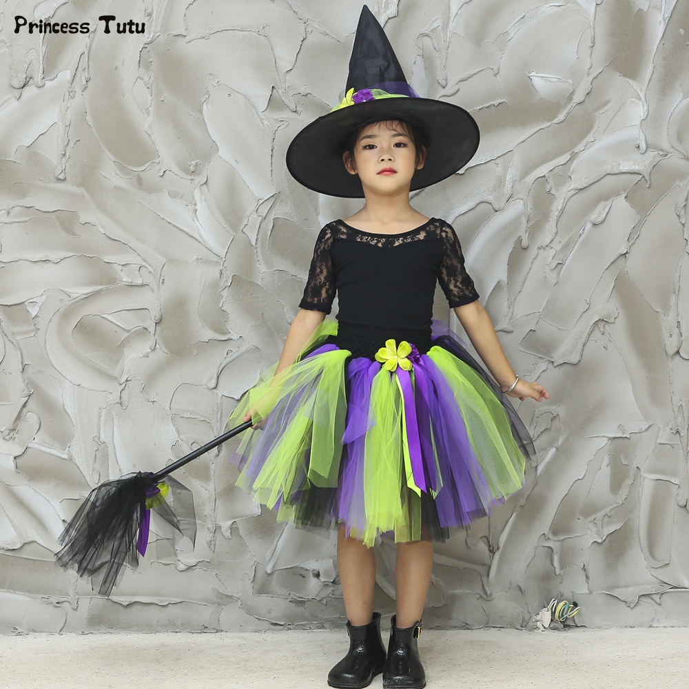 Halloween Party Cosplay Fancy Dress Kid Girl Child Witch Costume 1-14 Years