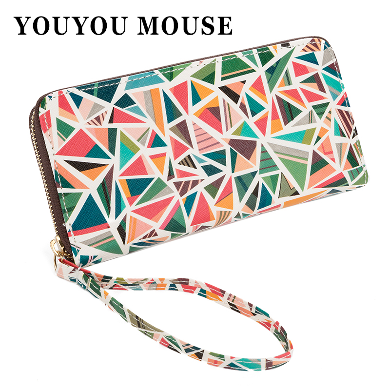 YOUYOU MOUSE Fashion Korean Style Wallet PU Leather Long Coin Purse Women Printing Geometric Pattern Zipper 1 Fold Women Wallets youyou mouse high quality women long wallets fashion pu leather money wallet 6 colors lady clutch coin purse card