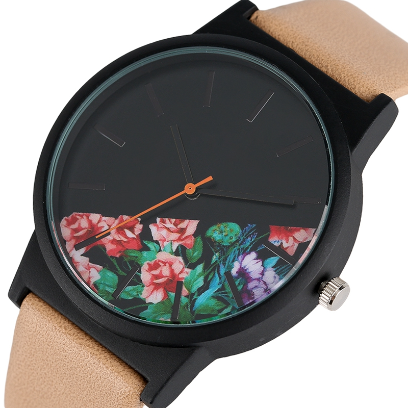 Mens Watches Luxury Flower Dial Casual Quartz Watch Leather Band Aviator Fashion Ladies Clock Sport Outdoor