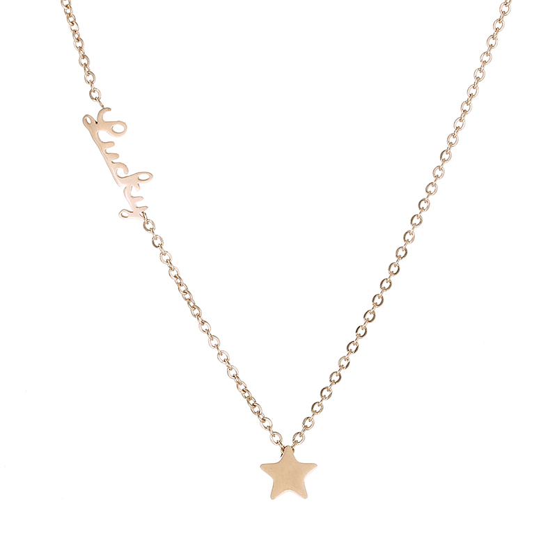 Classic Brand Jewelry Beautiful Star Pendant Necklace For Women Titanium Steel Lucky Rose Gold Color Wholesale