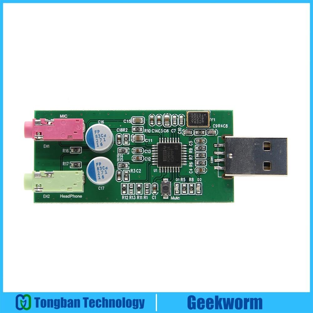 US $22 24 11% OFF|Raspberry Pi PCM2912A USB Audio Card UAC DAC Expansion  Board Audio Module w/ Microphone Input for Raspberry Pi 3 B+ / Windows-in