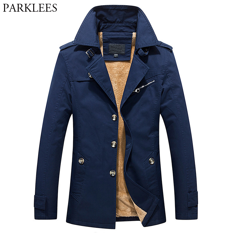 British Style Long   Trench   Coat Men 2017 Brand Winter Mens Thick Warm Fur Lining Coats Casual Turn Down Collar Cotton Windbreaker