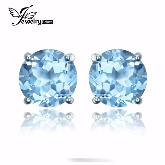 JewelryPalace Round 2ct Natural Sky Blue Topaz Birthstone Stud Earrings 925 Sterling Silver c0TJ5K