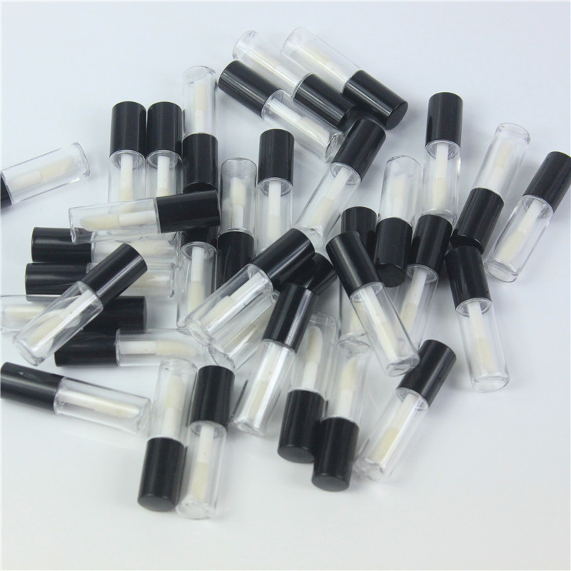 68pcs/lot 1.2ml Empty Clear Lip Gloss Tube With Blck Lid Lips Balm Brush Container Beauty Tool