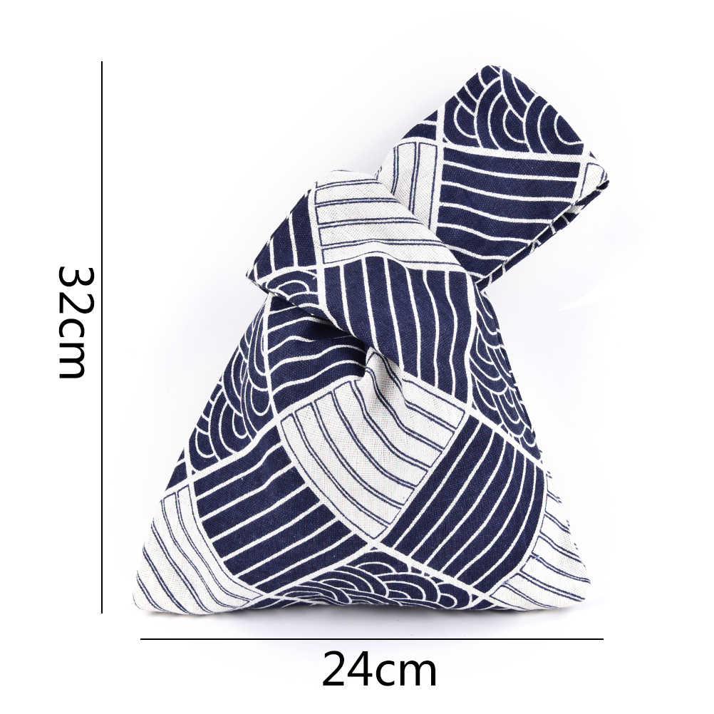 1 Pcs Japanischen Stil Wind Einfache Knoten Handgelenk Tasche Grid Welle Blume Handgemachte Platz Tasche Handy Schlüssel Kleine Tasche
