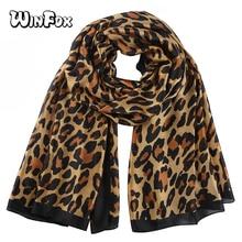Winfox Black Silk Scarf Leopard Women Animal Print Stain Shawls Scarves Female Stole