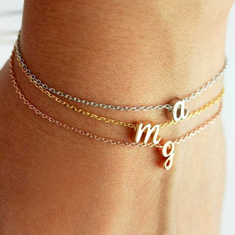 Customized Personalized Initial Letter Bracelet Bangle for Women Girl Silver Rose Gold Color Couple Chain Letter Charm Jewelry