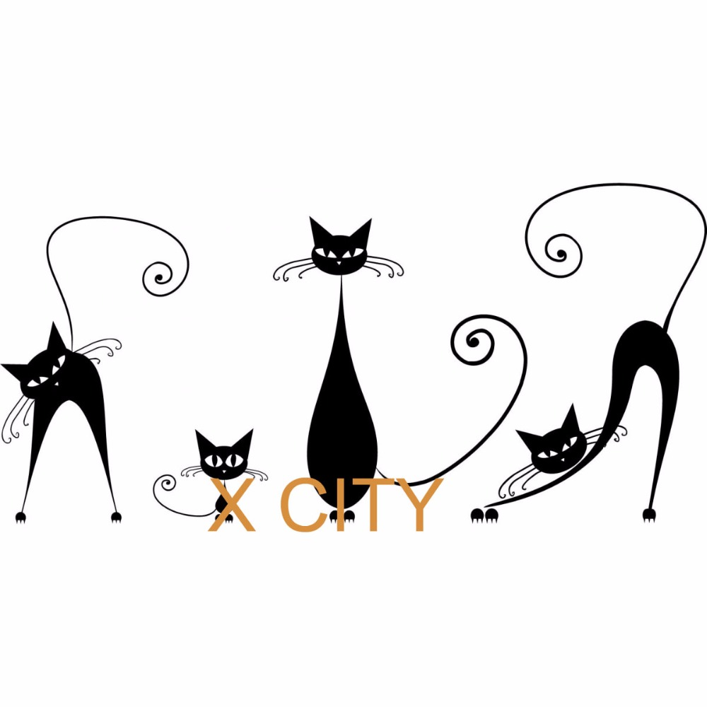 Us 9 39 Black Cat Family Cute Cartoon Silhouette Wall Art Decal Sticker Removable Vinyl Cut Transfer Stencil Mural Home Room Decor S M L In