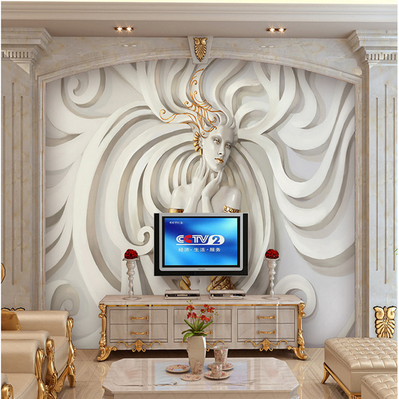 Custom Relief sculpture beautiful woman Photo Wall paper 3D Mural Wallpaper Art Design Bedroom Office Living Room home decoring book knowledge power channel creative 3d large mural wallpaper 3d bedroom living room tv backdrop painting wallpaper