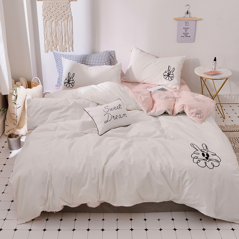 Home Textile Cactus Embroidery And Print Bedlinens Washed Cotton Twin Queen King Size Bedding Sets Pillowcases Duvet Cover Set