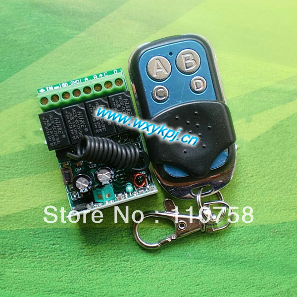 DC12V 4CH Mini size Learning code rf remote control switch /315mhz/433mhz transmitter and receiver free shipping learning code 315mhz dc12v