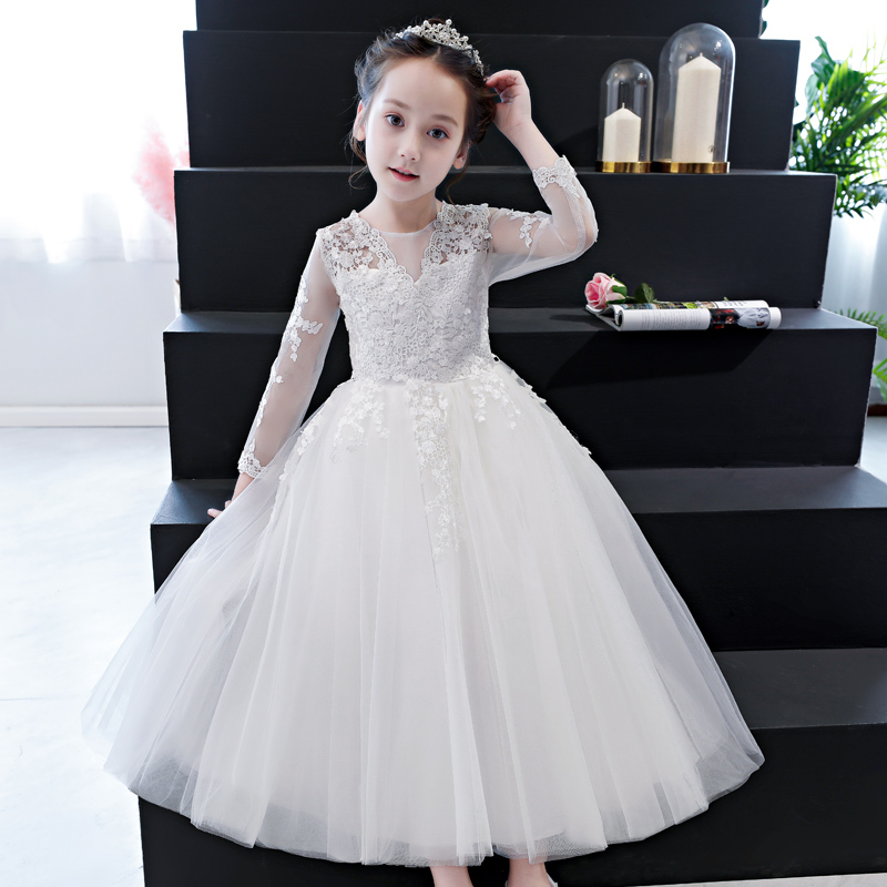 2018Autumn Elegant Girls Full Sleeves White Lace Princess Dress Children Wedding Birthday Dress Fancy Party Pageant Formal Dress girls lace mesh half sleeves dress for princess pageant wedding bridesmaid birthday formal party