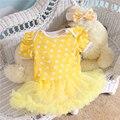 2 Unids por Juego Infantil Mameluco Del Cordón Amarillo Volantes Ajuste Blanco Lunares Tutu Vestido de los Bebés Diadema para 0-12months Envío gratis