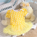 2PCs per Set Infant Lace Romper Yellow Ruffle Trim White Polka Dots Baby Girls Tutu Dress Headband for 0-12months Free Shipping