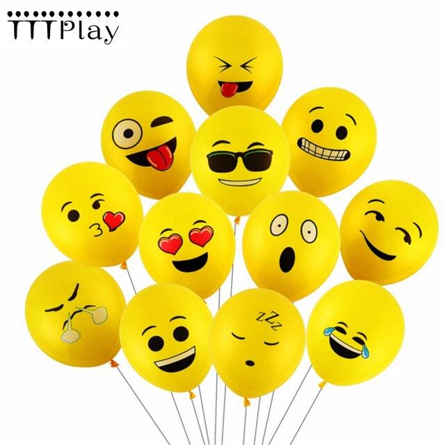 10pcs Set Emoji Smiley Face Expression Yellow Latex Balloons Wedding