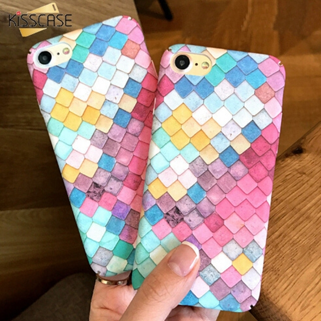 KISSCASE 3D Fish Scales Case For iPhone 7 6s 6 Plus 5S SE Case Colorful Pink Cute Hard Back Cover For iPhone 6 7 6S 5S SE Cases
