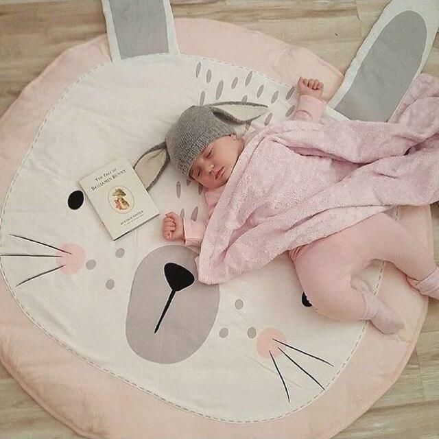 Kinder Spiel Decke Ins Baby Rosa Kaninchen Ohren Krabbeln Decke Klimaanlage  Werfen Runde Boden Teppich Kinderzimmer