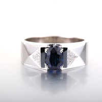 Robira Men S Wedding Ring 18K White Gold Wedding Band Natural Sapphire Engagement Rings Fine Jewelry
