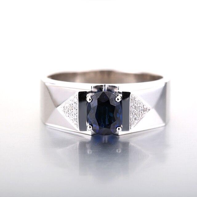 Robira Для мужчин обручальное кольцо 18 К белое золото Обручальное  Природный сапфир Обручальные кольца Ювелирные украшения 11bdaccd6a8