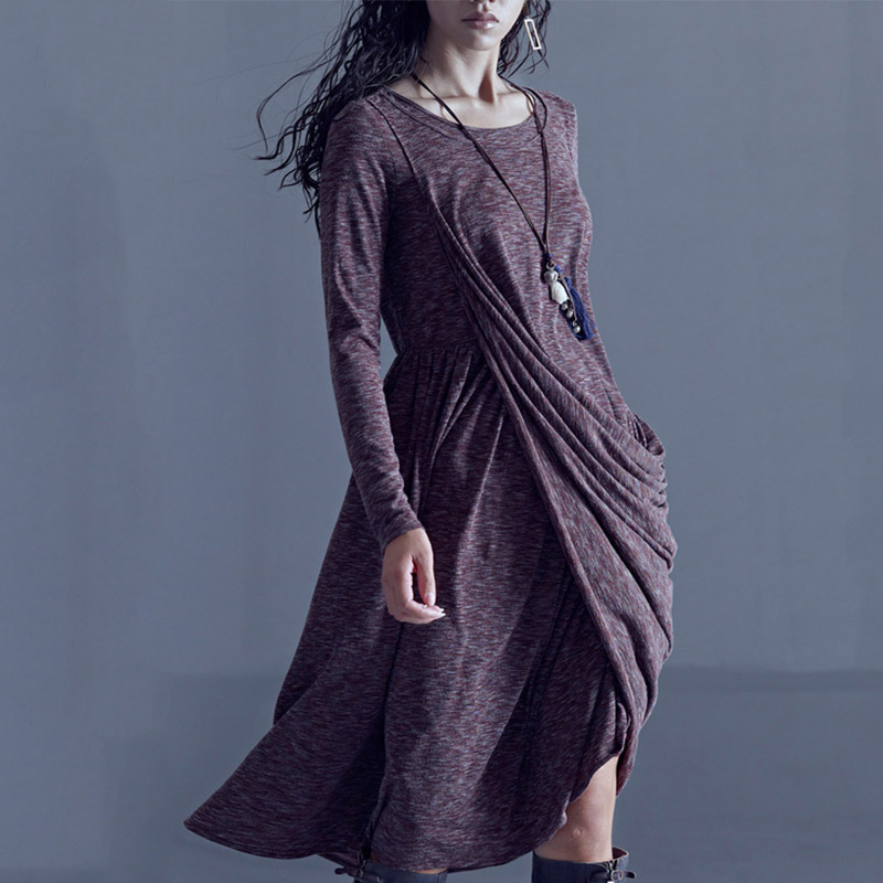 CLEARANCE ARTKA 2018 Spring New Women Pleated Irregular Large Swing Vintage Knitted Long Dress Female LA10772Q