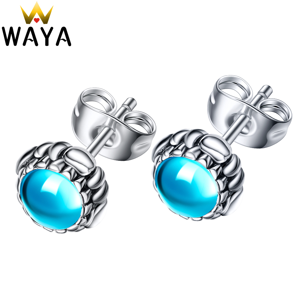 Waya Brand Silver Color 12 Months Birthstone Blooms Stud Earrings For  Female Women Fashion Earring Original